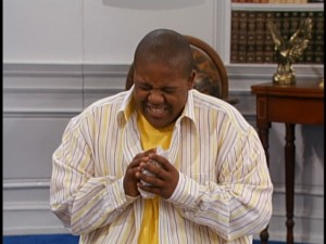 "Kyle Massey, apparently watching playback of ""Cory in the House."""