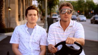 Mom's restarted love life isn't the only source of embarrassment for 18-year-old Travis (Dan Byrd); his father Bobby (Brian Van Holt) lives out of a parked boat, takes a landscaping job at his high school, and, as seen here, drives a golf cart.