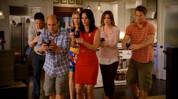 Red wine flows in the house of Jules Cobb, where she (Courteney Cox) and the Cul-De-Sac Crew (Josh Hopkins, Ian Gomez, Busy Philipps, Christa Miller, Brian Van Holt) walk carefully to the couch to avoid spills.