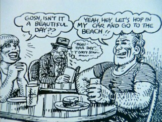 Robert Crumb captures his misanthropy in this comic drawing of himself at a posh cafe.