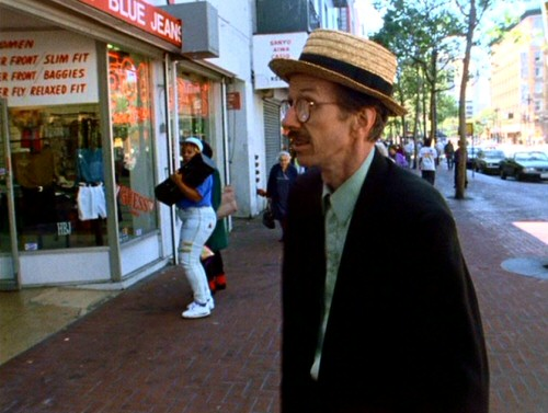 Robert Crumb goes for an enlightening stroll downtown, exposing him to brand logos and boombox music in Terry Zwigoff's documentary.