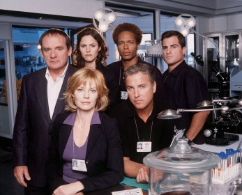 "The first season cast of ""CSI: Crime Scene Investigation"" -- from left to right, Paul Guilfoyle, Jorja Fox, Gary Dourdan, George Eads, William Petersen, and Marg Helgenberger."