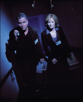 "The two leads of ""CSI"" give a dark, atmospheric examination room pose. She (Marg Helgenberger) was nominated for an Emmy in Season 1, he (William Petersen) wasn't."