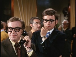 Joe Flynn (left) plays Francis X. Wilbanks, UBC's manager. In his big screen debut, John Ritter plays his whiny nephew Roger.