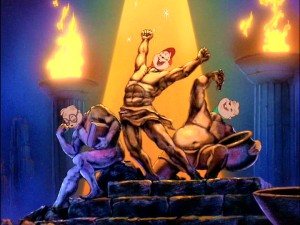 With help from bronze statues, Simon, Alvin, and Theodore strike a triumphant pose in Greece while informing the Chipettes that they are in fact, the Boys of Rock 'n' Roll. Needless to say, the sequence is one of the film's best.