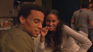 "Michael Ealy and Joy Bryant pass time between takes in ""An Un-Romantic Comedy."""