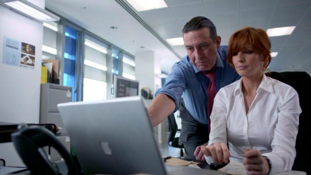 Detectives Langton (Ciarán Hinds) and Travis (Kelly Reilly) have the good fortune to spot the very crucifix found at the crime scene in one of the deceased's movies.