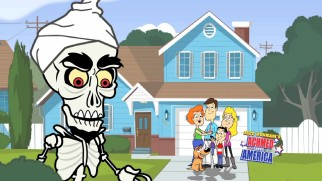 Achmed's expression changes in front of the Wilsons' home on the Blu-ray's subtly animated top menu.