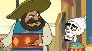 Isn't that funny?! After revealing Achmed's true identity, his boss Hassan al-Hassan tries to sneak them INTO Mexico.