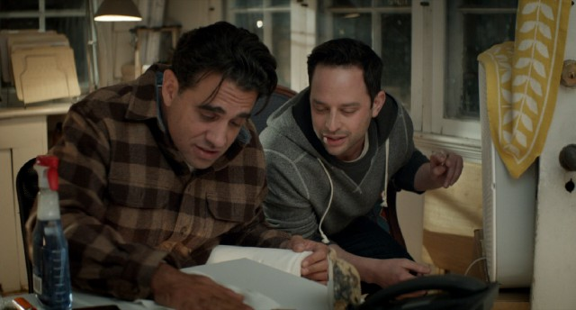 Jake (Nick Kroll) secretly lets off steam with his brother-in-law Danny (Bobby Cannavale) in a well-ventilated room.