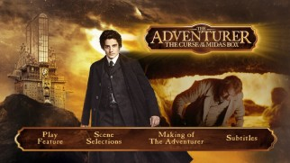 Sam Neill crouches under the title logo on The Adventurer: The Curse of the Midas Box's Blu-ray menu.