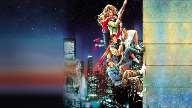 Drew Struzan's colorful, iconic Adventures in Babysitting poster art is put to use on the Blu-ray's menu.
