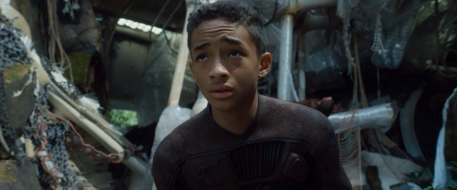 "In the post-apocalyptic thriller ""After Earth"", crash survivor Kitai Raige (Jaden Smith) is on his own to stay alive and get back home."