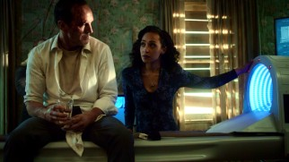 "An abducted Agent Coulson (Clark Gregg) is questioned and tested by Raina (Ruth Negga) about his time in ""The Magical Place."""