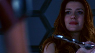 "Asgardian escapee Lorelei (Elena Satine) is ready to rumble with her nemesis in a Nevadan bar in ""Yes Men."""