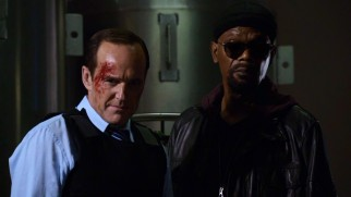 Agent Coulson (Clark Gregg) shares a two-shot with someone as badass as him: death-faking S.H.I.E.L.D. director Nick Fury (Samuel L. Jackson) in the Season 1 finale.
