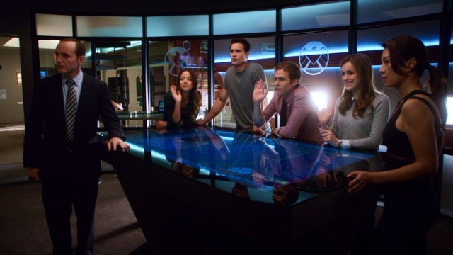 Meet the Agents of S.H.I.E.L.D.! Left to right, they are Coulson (Clark Gregg), Skye (Chloe Bennet), Ward (Brett Dalton), Fitz (Iain De Caestecker), Simmons (Elizabeth Henstridge) and May (Ming-Na Wen).