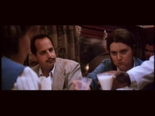 Ernie (Jon Lovitz) is revolted by Marla's (Megan Cavanagh) unladylike eating in this deleted train ride scene.