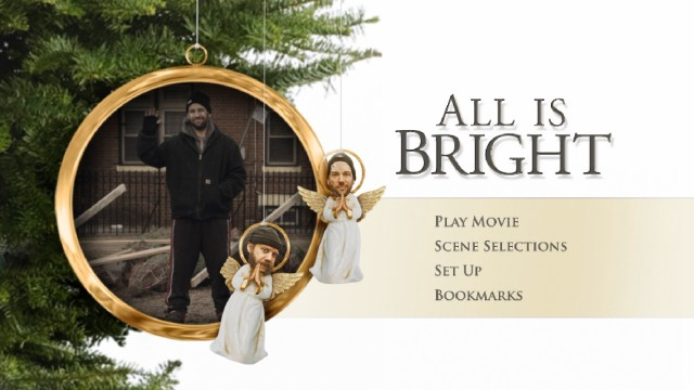 The All Is Bright Blu-ray's creative menu, featuring Paul Giamatti and Paul Rudd angels alongside a clip-playing ornament, almost makes up for the complete lack of bonus features.