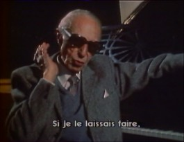"An aging, sunglassed Douglas Sirk is translated into French by subtitles in this 1982 episode of ""Cinéma cinémas."""