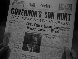 Gubernatorial scandal hits the newspapers, as the Daily Register reports on Stark's son car crash.