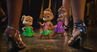 Chipettes Eleanor, Brittany, and Jeanette prepare to dance-off against three human women.