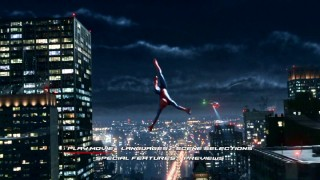 Spider-Man swings around New York City on the DVD version of the main menu montage.