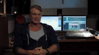 Would-be chemical engineer Dolph Lundgren takes a moment from unspecified computing to talk about the film.
