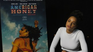"Sasha Lane discusses her film debut across from the ""American Honey"" poster bearing her likeness."