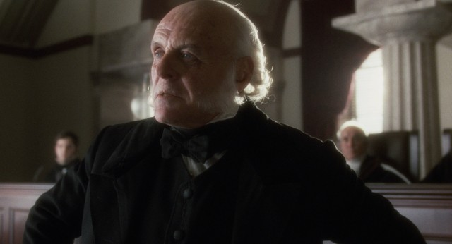 Anthony Hopkins steals the show late with a long and passionate courtroom speech as former president John Quincy Adams.