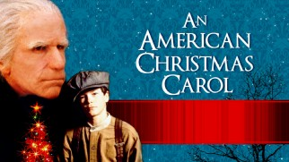 Snow falls on Henry Winkler and Derrick Jones on An American Christmas Carol's Blu-ray menu.