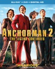 Anchorman 2: The Legend Continues: Blu-ray + DVD + Digital HD UltraViolet combo pack cover art -- click to read the press release