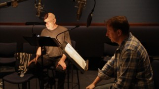 """None of Them Are You"" shows Tom Noonan, David Thewlis, and Jennifer Jason Leigh (not pictured) recording their lines together in contrast to animation conventions."