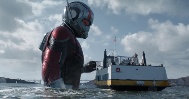"Ant-Man (Paul Rudd) becomes Giant-Man, towering over a San Francisco whale boat in the climax of ""Ant-Man and the Wasp."""