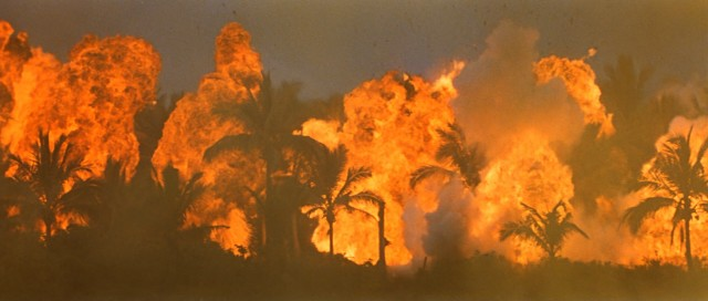 "Francis Ford Coppola sets the jungle on fire in the iconic opening shot of Vietnam War drama ""Apocalypse Now."""