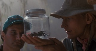Jerry Manley (Mark L. Taylor) and Dr. Atherton (Julian Sands) discover a new spider species in the film's Venezuelan opening/