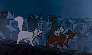 Thomas O'Malley the alley cat shows pampered Duchess and her kittens a different side of France as they cross rooftops.