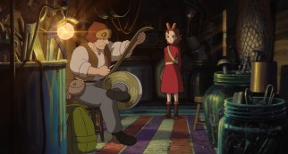 On her very first borrowing, Arrietty watches as her father Pod cuts off just as much double-sided tape as they need.
