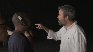 "Denis Villeneuve directs cinematographer Bradford Young and others on the set of ""Arrival."""