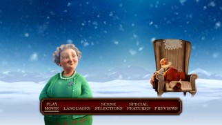 mrs claus and a snoozing grandsanta are among those featured on the dvds main menu - Arthur Christmas Dvd