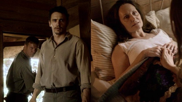 "Darl Bundren (James Franco) and his brother Cash (Jim Parrack) find their mother (Beth Grant) dying on the other half of the screen in Franco's ""As I Lay Dying."""