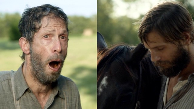 Anse Bundren (Tim Blake Nelson) shows off his toothless mouth while Jewel (Logan Marshall-Green) tends to a horse.