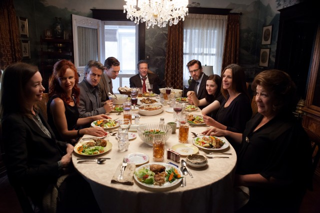 "Secrets are shared and guarded during the Weston family's large, uneasy dinner in ""August: Osage County."""