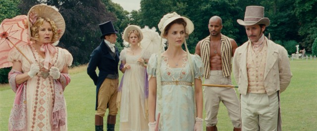 "In ""Austenland"", modern-day Jane Austen enthusiast Jane Hayes (Keri Russell) treats herself to a fantasy vacation experience inspired by Austen's romances."