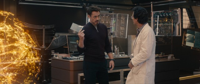 "Tony Stark (Robert Downey Jr.) and Bruce Banner (Mark Ruffalo) dabble with artificial intelligence behind their fellow Avengers' backs in ""Avengers: Age of Ultron."""