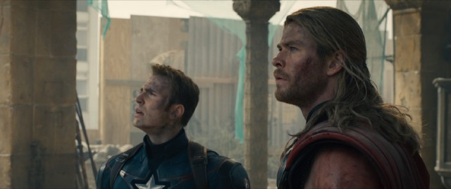 "Captain America (Chris Evans), Thor (Chris Hemsworth), and the rest of the Avengers return in ""Avengers: Age of Ultron."""