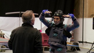 Mark Ruffalo looks ridiculous in his motion capture suit, the price one pays for playing The Hulk in 2015.