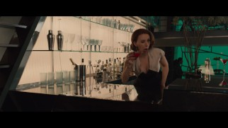 Scarlett Johansson shoots a playful wink at the camera in the Avengers 2 gag reel.