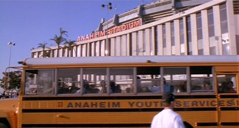 The school bus pulls up at what was then known as Anaheim Stadium.