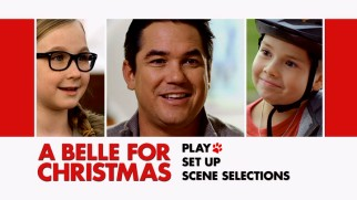 Two kids make a Dean Cain sandwich on A Belle for Christmas' basic DVD main menu.